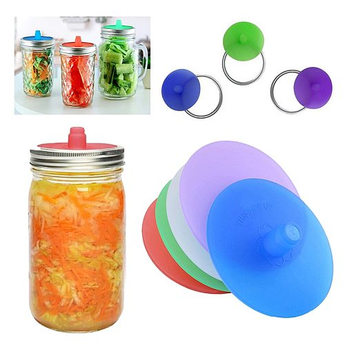 New Cup With Lid Kitchen Tools Wide Mouth Lids Silicone Lids With Sealed Ring Waterless Airlock Fermentation Lids For Sauerkraut