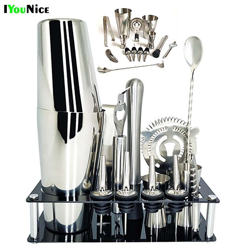 1-14 Pcs/set 600ml 750ml Stainless Steel Cocktail Shaker Mixer Drink Bartender Browser Kit Bars Set Tools With Wine Rack Stand