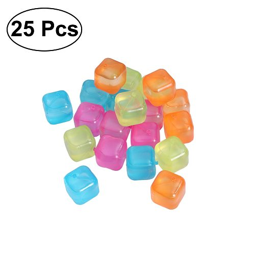 ROSENICE 20pcs/Pack Square Reusable 3D Ice Cubes Multicolor Cooling Tool for Party (Random Color)