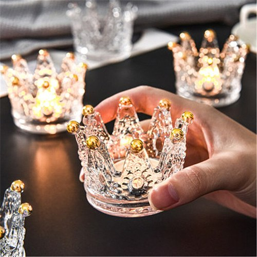 Candle Warmer Stand Desktop Jewelry Rack Tray Storage Box Crystal Crown Glass Decorative Candlestick