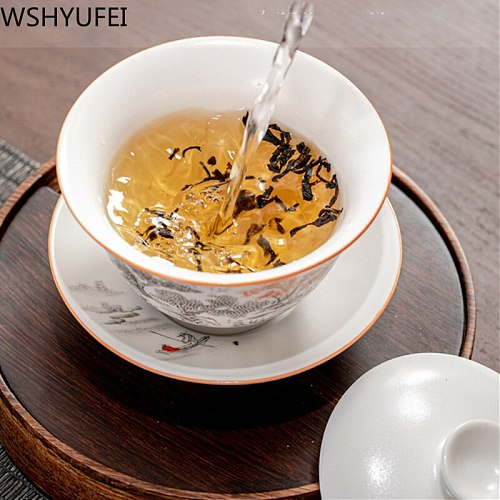 Jingdezhen Ceramic Gaiwan Teacup handmade Tea Tureen Boutique tea bowl Chinese Porcelain Teaware Accessories Drinkware