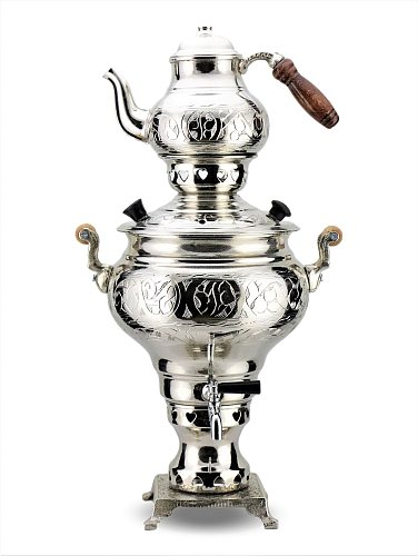 SONAYCOPPER Excavated nickel-plated Copper Samovar, Coal Use, 3 L Capacity
