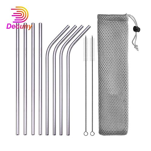 DEOUNY Metal Tubes With Bag And Cleaner Brush 304 Stainless Steel Reusable Straight Bent Cocktail Straws 11PCS Bar Accessories