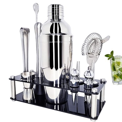 Stainless Steel Cocktail Shaker Muddler Strainer Tong Spoon Pourer Jigger Cork 550/750ml With Wine Rack Cocktail Recipe