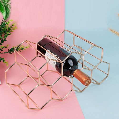 Modern Metal Honeycomb Wine Rack Wine Bottle Storage Beehive Tabletop Wine Rack Hexagon 9 Bottle Wine Holder Display