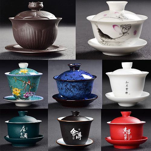 Brand New Gaiwan Chinese KungFu Tea Cups Porcelain Tea Bowl Ware Tureen Ceramic Kung Fu Gai Wan Teaset and Saucer  Tea set