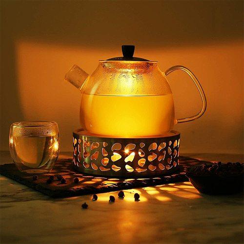 Portable Warmer Tea Holder Durable Stainless Steel Candle Warmer Tea Holder Trivets Coffee Warmer Heating Base Teapot Holder