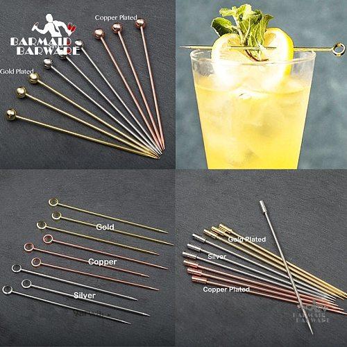6pcs 10.7cm-11cm Fruit Cocktail Pick Stick Stainless Steel Bar Tools Drink Stirring Sticks Martini Picks Party Wedding 3 colors