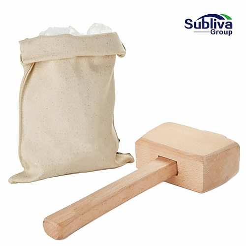 Ice Mallet and Ice Bag  Wood Hammer and Lewis Bag for Crushed Ice Bartender Kit Bar Tools Kitchen Accessory