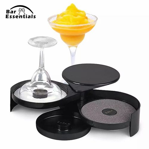 Useful Bar Glass 3-tier Salt Sugar Margarita Cocktail Rimmer For Bartender Bar Tools