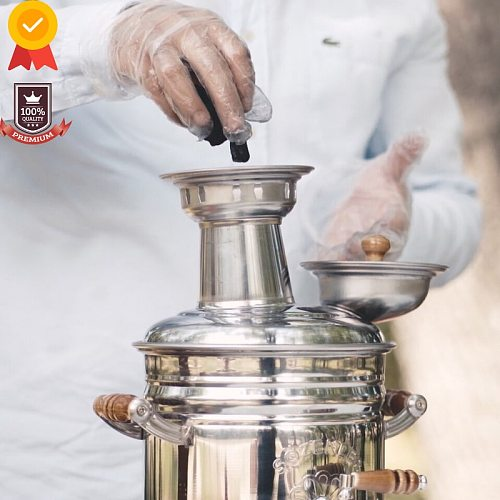 Stainless Steel Samovar Wood Burning Charcoal Camping Stove Tea Kettle Outdoor Tableware Camping Accessories Coffee Machine