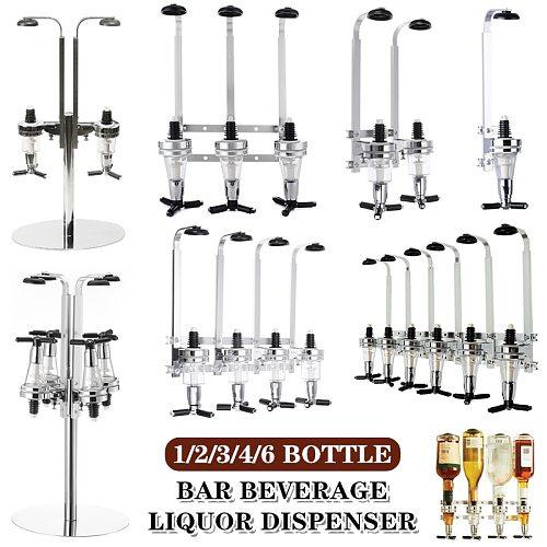 1-6 Bottle Bar Beverage Liquor Dispenser Holder Alcohol Drink Shot Wall Mounted 1-6 Station Beer Wine Pourers Divider Dispensary