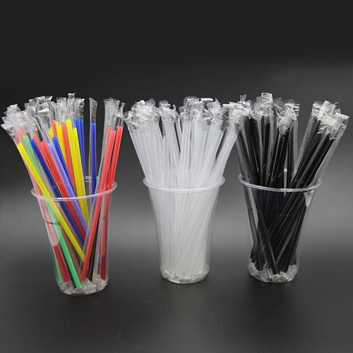 100pcs Clear individually wrapped Drinking PP Straws Tea Drinks Straws Smoothies Jumbo Thick holiday event party