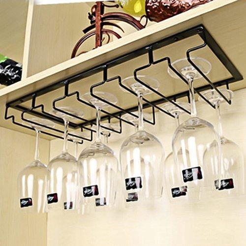 Wine Glasses Holder Bartender Stemware Hanging Rack Under Cabinet Stemware Organizer Glass Goblet Iron Rack Bar Tool