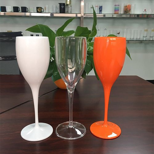 2021 Moet Champagne Flutes Glasses Plastic Dishwasher-Safe White Acrylic Champagne Transparent Wine Glass Stemware