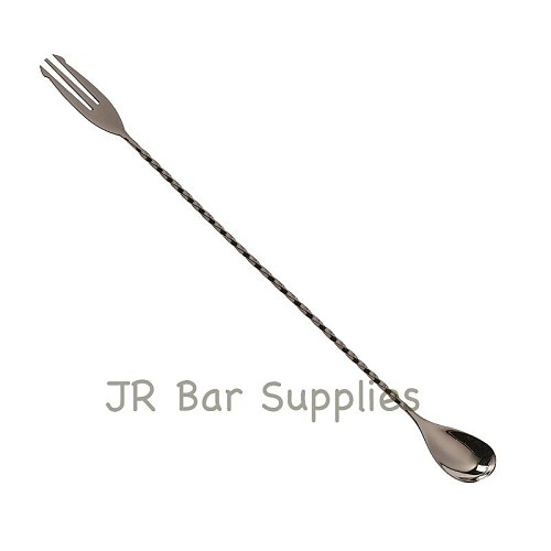 Stainless Steel Trident Bar Spoon Cocktail Mixing Spoon with Fork Mixer Bar Stirring Mixing 30cm/40cm/50cm