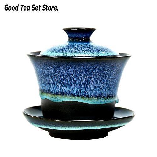 180ML 6oz Ceramics Tureen Porcelain Gaiwan Cup Kung Fu Tea Bowl with Saucer Lid Kit Master Mugs Pot Drinkware Gift Decor Crafts
