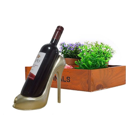 High Heel Shoe Wine Bottle Holder Stylish Rack Gift Basket Accessories for Home Red Shoe Wine Rack Creative Bottle Holder