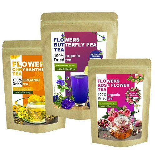 Minch Bulk Flower Tea Kit Rose Ultra Blue Butterfly Pea Red Rose Buds Fetal Chrysanthemum Non Woven Tea Bags