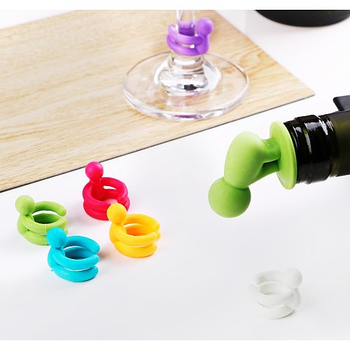 HILIFE Bar Party Supplies Rubber Wine Glass Label 7 pcs/set Drink Cup Silicone Marker Leak Free Cute Wine Bottle Stopper