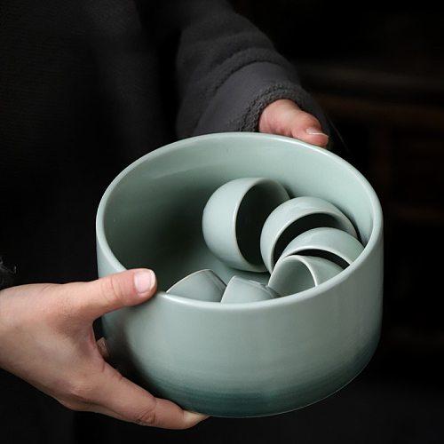 PINNY 900ML Ceramic Cyan Glaze Tea Wash Bowls Chinese Kung Fu Tea Accessories Pigmented Retro Tea Service