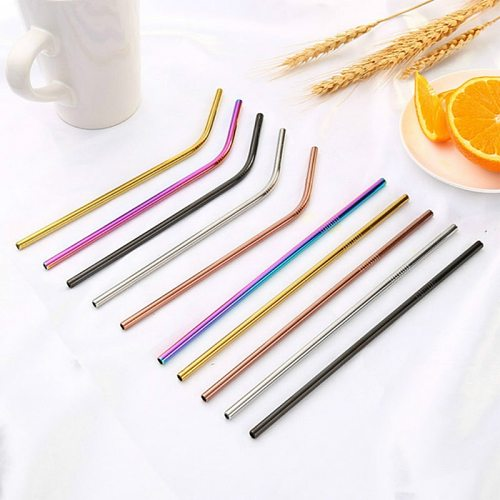 Reusable Metal Drinking Straws 304 Stainless Steel Sturdy Bent Straight Drinks Straw Kawaii Colourful Environmental Protection