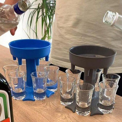 6 Shot Glass Dispenser Holder Party Beverage Drinking Games Bar Cocktail Dispenser Carrier Alcohol Dispenser Bottle Bar Accessor
