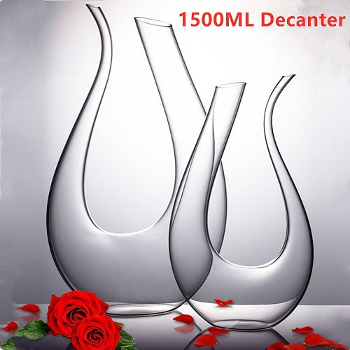 1500ML Big Decanter Handmade Crystal Red Wine Brandy Champagne Glasses Decanter Bottle Jug Pourer Aerator For Family Bar