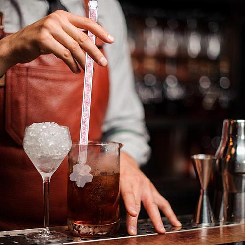Round Top Stir Stick Shiny Glass Stick Sakura Shaped Design Stirrer Wine Stirrer  Drink Stirrer for Home