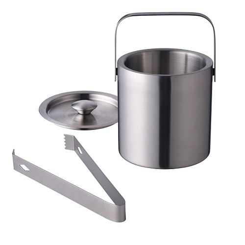 1.3L Stainless Steel Ice Cube Container Double Walled Ice Bucket Container with Tongs Lid