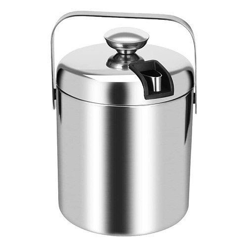 Stainless Steel Ice Square Container Double Walled 1.3L Ice Bucket Container with Tongs Lid