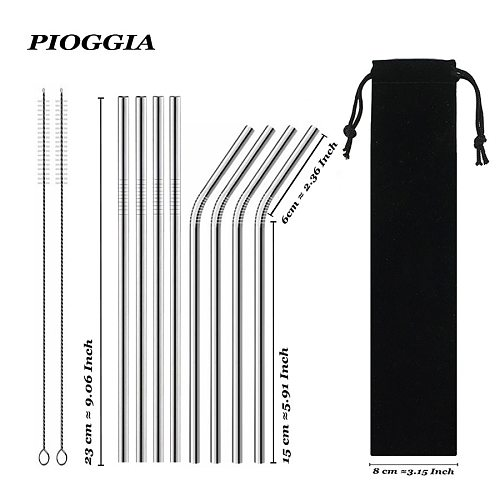 Reusable Drinking Straw High Quality 304 Stainless Steel Metal Straw With Cleaner Brush For Mugs 20/30oz Coffee Bar Accessories