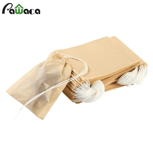 100pcs/lot Tea Bag Filter Paper Bags Heat Seal Teabags Tea Strainer Infuser Wood Drawstring Tea Bag for Herb Loose Tea 3 Sizes