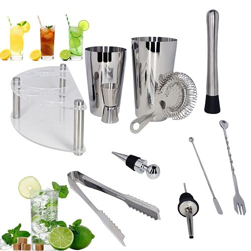 1-12 Pieces Martini 450/600/750ml Boston Cocktail Shaker Bar Tools Set Stainless Steel Bartender Kit with Stand + Drink Recipe