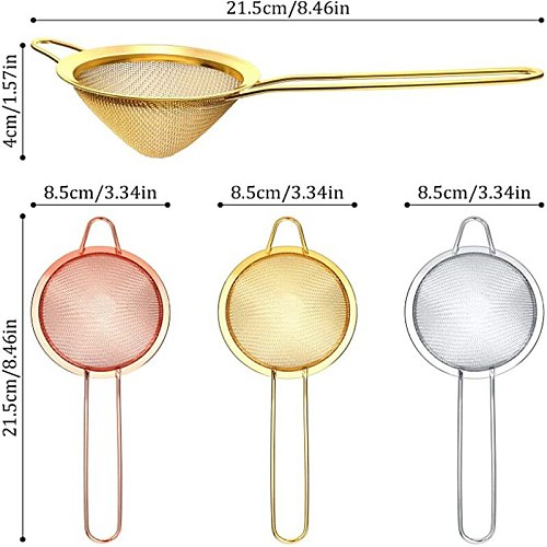 Cocktail Strainer Stainless Steel Tea Strainers Conical Food Strainers Fine Mesh Strainer Practical Bar Strainer Tool