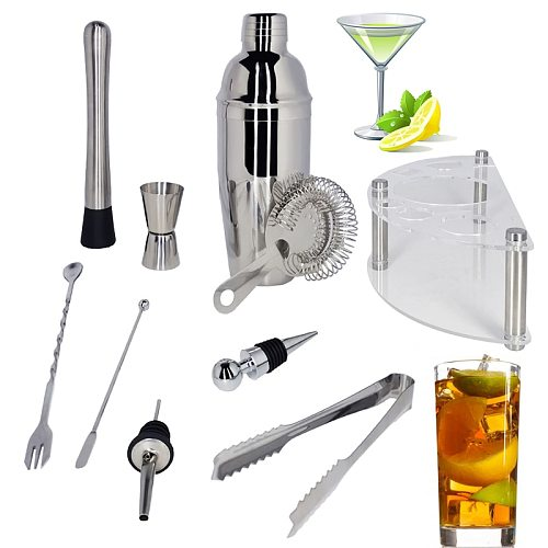 1-12PCS Cocktail Shaker Set Bartender Kit with Stand Drink Recipe, Professional Stainless Steel Drink Shaker Home Bar Tools