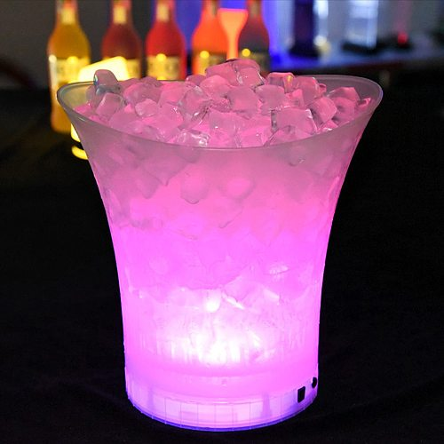 New LED 5L Waterproof Plastic Ice Bucket 6 Color  Bars Nightclubs LED Light Up Champagne Beer Bucket Bars Night Party Ice Bucket