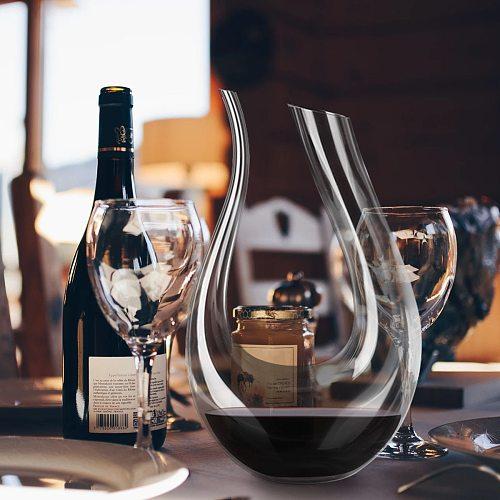 YKPUII 1500ML Big Decanter Handmade Crystal Red Wine Brandy Champagne Glasses Decanter Bottle Jug Pourer Aerator For Family Bar