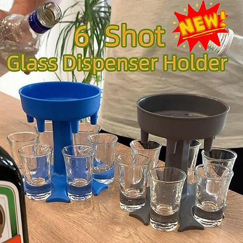 6 Shot Glass Dispenser and Holder Wine Pourer Portable Dispenser Party Gifts Bar Accessory Drinking Games Glass Dispenser