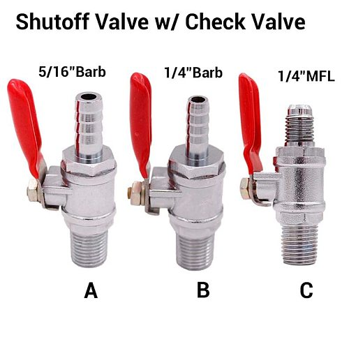 1/4 MPT Shutoff Valve w/ Check Valve Homebrew Co2 Manifold Co2 Regulator Parts Brewer Hardware