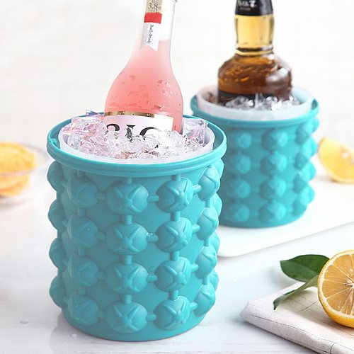 Ultimate Ice Cube Trays Maker Silicone Bucket with Lid Small Large Size Nugget Ice Chips for Soft Drinks Cocktail Ice