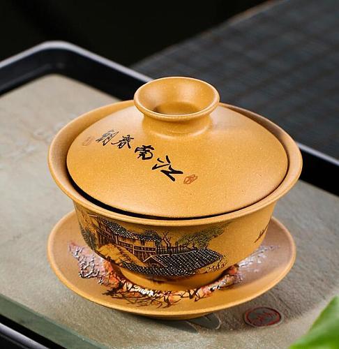 Chinese Tea Set Turee Gaiwan Vintage Hand-painted Ceramic Teaware Sets Yixing Purple Sands China Porcelain Kung Fu Tea Set Bowl