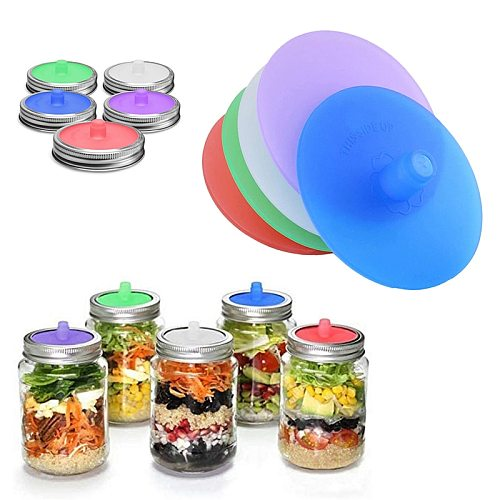Waterless Fermenting Airlock Lids Kitchen Storage Covers Stainless Steel Band For Wide Mouth Mason Jar Sealed Lid For Kitchen