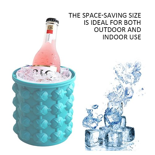 New Sale Round double cavity silicone magic bucket with lid Maker Saving Ice Cubes Storage Space Mould Bucket