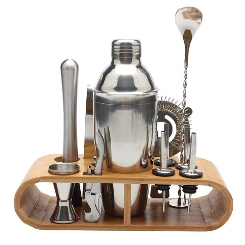 750ml/600ml Stainless Steel Bar Cocktail Shaker Set Barware Tools Shaker Sets with Wooden Rack