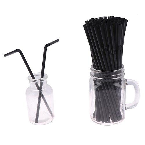 100Pcs Drinking Straws 210mm Black White Long Flexible Wedding Party Supplies Plastic Drinking Straws Kitchen Accessories