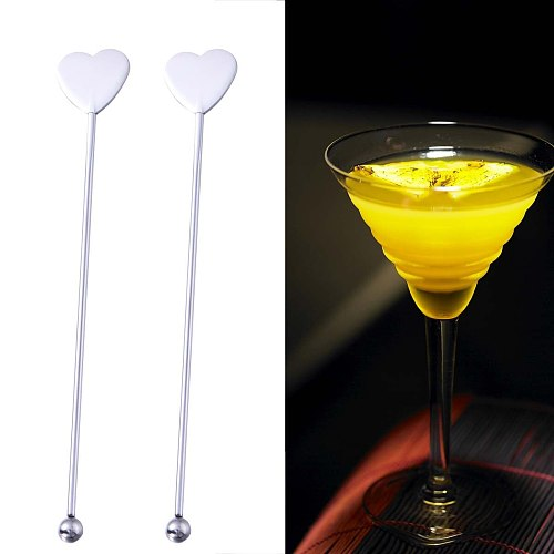 5 Pcs Stainless Steel Practical Durable Heart-shaped and Round Bead Martini Picks Cocktail Pick Set Fruit Stick Stirring Stick