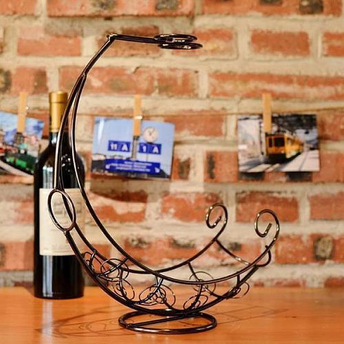 Decorative Retro Metal Wine Bottle Storage Holder Rack Bar Display Stand Bracket Bronze Barware Supplies Accessories Decoration