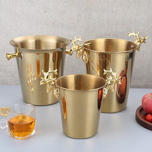 KTV Wine Chiller Bottle Cooler Beer Chiller Ice Barrel Silver Gold gold European style champagne barrel deer head ice bucket