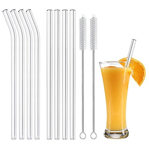 Reusable Glass Straws Smoothie Drinking Straw for Milkshakes Frozen Drinks Environmentally Friendly Drinkware Straws Set